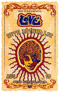Historico poster de una actuacion de los Love con Arthur Lee