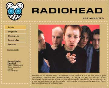 Imagen de la portada del minisite dedicado a Radiohead