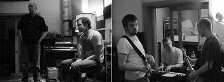 Dos fotografias del grupo Maritime en el estudio de grabación