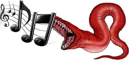 Ilustración representativa del gusano W32.Deletemusic