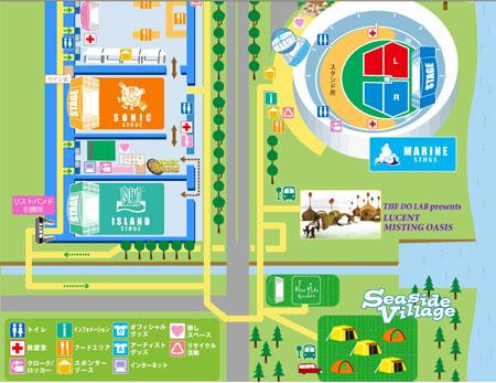 Plano del recinto del festival japones de musica Summersonic