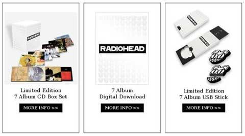 Pack con los 7 primeros discos de Radiohead