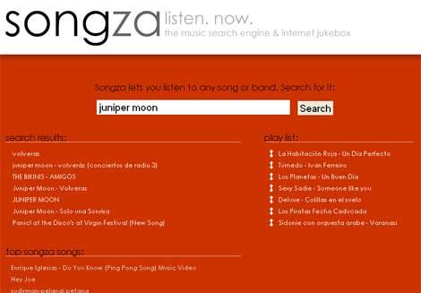 Pantallazo del buscador de música Songza
