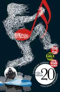 Cartel promocional del concurso musical Villa de Bilbao en su vigésima edición