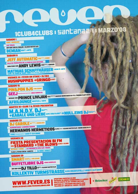 Cartel promocional del Fever donde aparece la fiesta de presentación de BI FM en la que estarán La Furgoneta Azul DJs