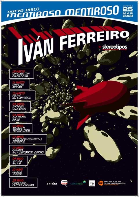 Poster promocional de la gira de Mentiroso Mentiroso de Ivan Ferreiro