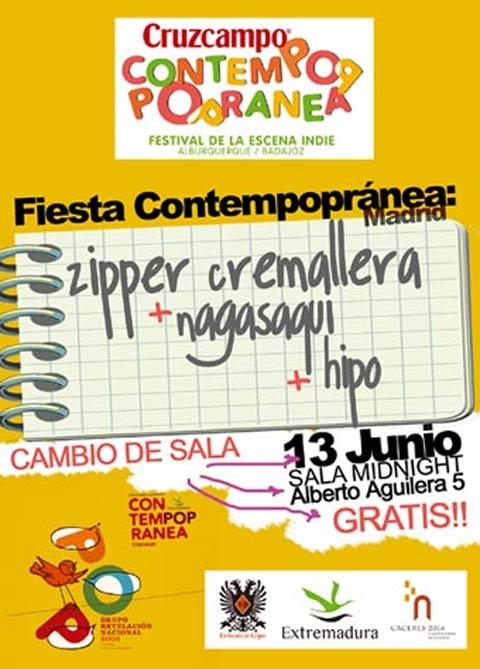 Cartel promocional de la fiesta de presentación del Contempopranea en Madrid