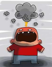 Dibujo de un personaje furioso