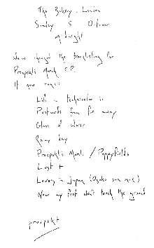 Imagen posteada en la web de Coldplay con el tracklist del EP Prospekts March