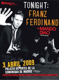Cartel del anuncio del concierto en Madrid de Franz Ferdinand y Mando diao