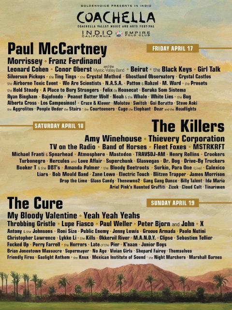 Cartel por días del Coachella 2009