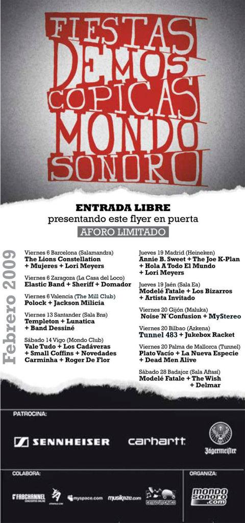 Invitación para asistir gratuitamente a la fiesta demóscopica de Mondosonoro en la sala Salamandra de Barcelona