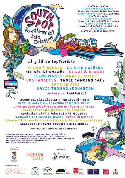 Cartel promocional del festival South Pop Isla Cristina 2009