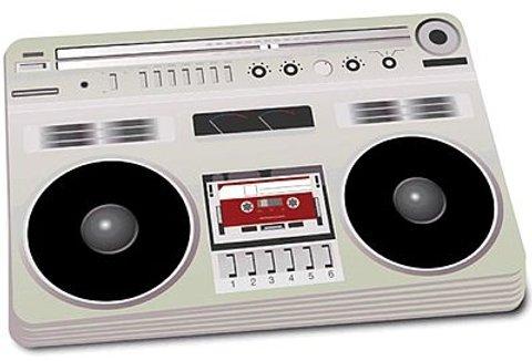 Mantel individual con motivo de un reproductor de cassettes