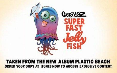 Imagen promocional del tema Superfast Jellyfish de Gorillaz