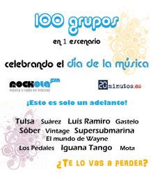 Cartel promocional de los actos que Rockola.fm y 20 Minutos organizan por el Día de la Música
