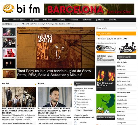 Imagen de la nueva web de BI FM
