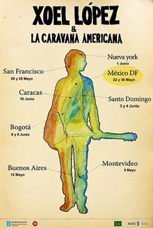 Cartel de la gira americana de Xoel López y la Caravana Americana
