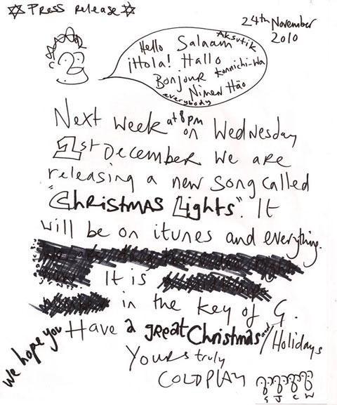 La nota de prensa en la que Coldplay anunciaban su tema navideño