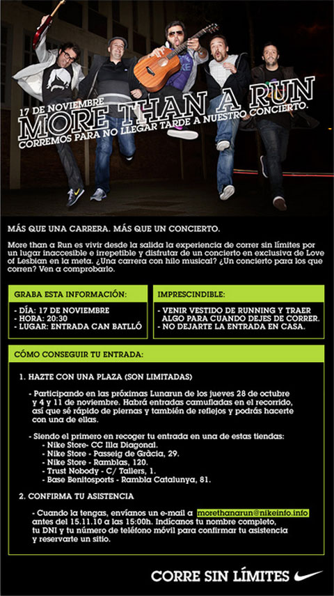 Información sobre el evento de Nike More than a Run
