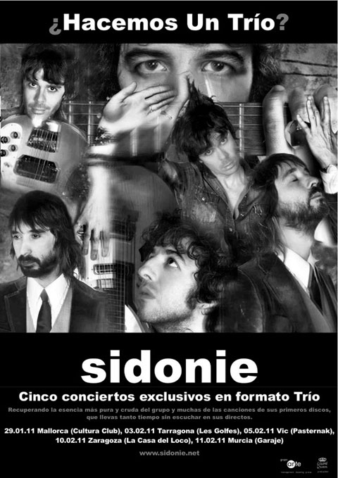 Cartel promocionales de los nuevos conciertos de Sidonie