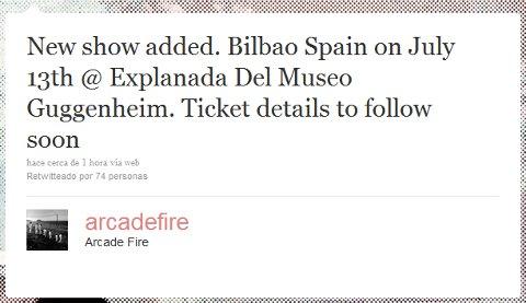 Tuit del grupo Arcade Fire en el que anuncia su concierto en Bilbao
