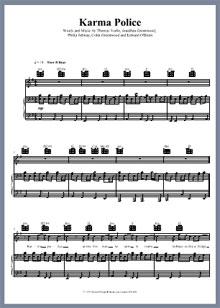 Captura de la partitura de la canción Karma Police de Radiohead