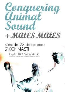 Cartel del concierto de Acuarela con Conquering Animal Sound y Mates Mates