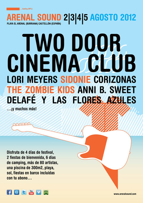 Cartel con las primeras confirmaciones del Arenal Sound 2012
