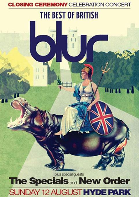 Cartel del concierto de Blur, The Specials y New Order en la clausura de los Juegos Olímpicos de Londres