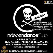 Cartel promocional de la fiesta One Day de Independance Bilbao.