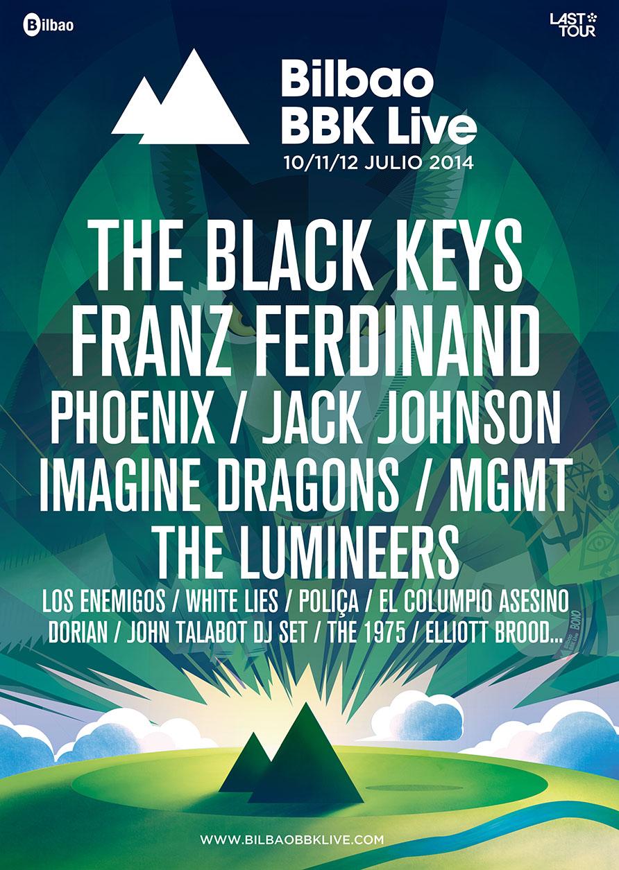Cartel con los confirmados para el Bilbao BBK Live 2014