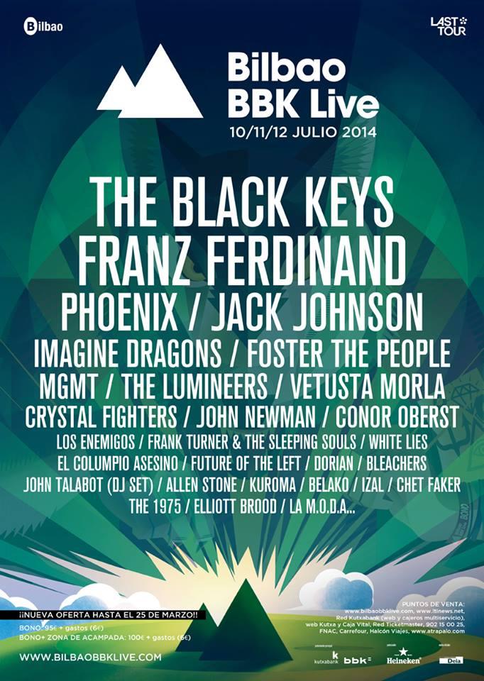 Cartel del Bilbao BBK Live 2014 con las nuevas incorporaciones