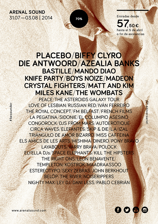 Cartel provisional del Arenal Sound 2014