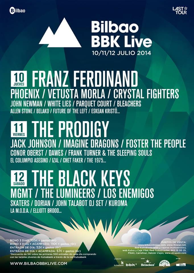 Cartel por días provisional del Bilbao BBK Live 2014