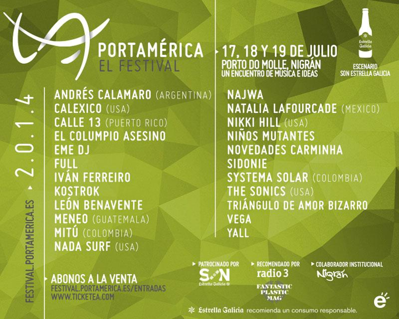 Cartel provisional del Festival PortAmérica 2014
