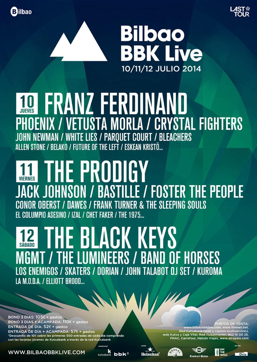 Cartel provisional del Bilbao BBK Live 2014