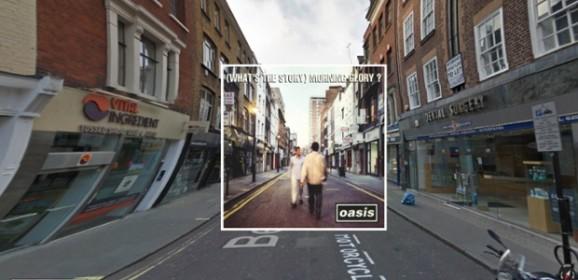 Portadas de discos clásicos en Google Street View
