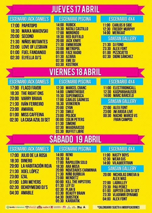 Distibución por días, escenarios y horario del cartel del San San Festival 2014